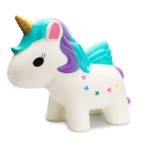 RHORSE 12 Inch Jumbo Rainbow Unicorn Kawaii Cute Strawberry Cream Scented Squishies Slow Rising Kids Toys Doll Stress Relief Toy Hop Props Decorative Props Large (Jumbo Rainbow Unicorn)