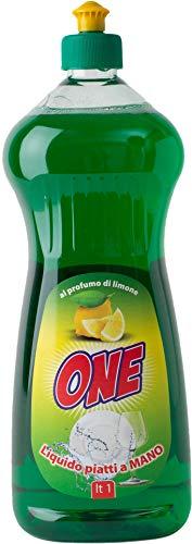 ONE Limpiador líquido limpiador de platos a mano con aroma a limón | neutraliza la grasa y la suciedad 1 litro | Limpieza de bajo impacto ambiental