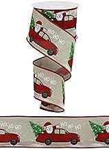 Ho Ho Ho Santa in Truck - Christmas Wired Edge Ribbon - 2.5