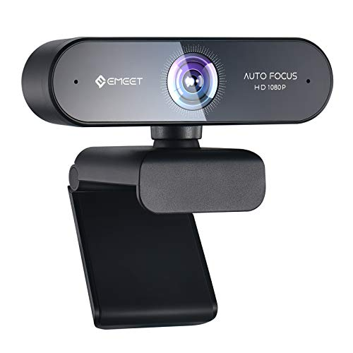 eMeet1080PWebcam-NOVAFullHDWebcammitAutofokus, WebcammitDualMikrofon, Low-Light Korrektur, 96 ° Sichtfeld, Plug&Play, fürPC, Desktop, Xbox,Win10,MacOSX,fürSkype, Zoom,Konferenz
