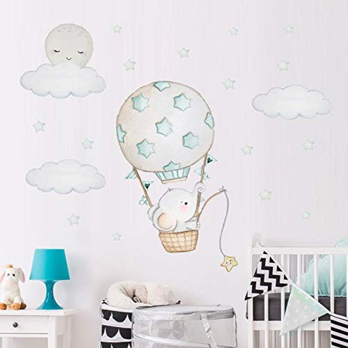 Etiqueta de la pared, dibujos animados acuarela globo aerostático nube de elefante Diy pegatina etiqueta de la pared vinilo habitación infantil etiqueta de la pared sala de estar dormitorio dec