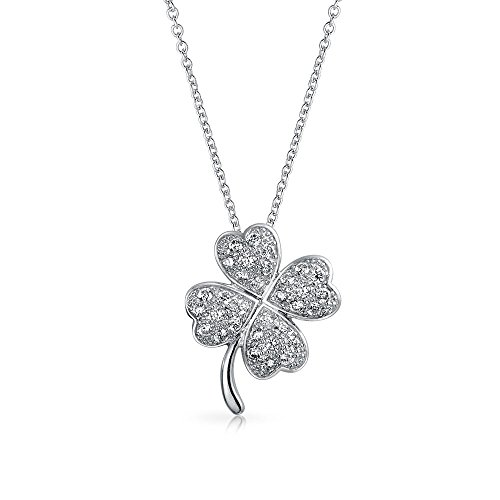 Bling Jewelry Irish Shamrock Lucky Charm Pave CZ Four Leaf Clover Pendant Necklace for Women for Teen 925 Sterling Silver