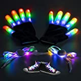 WETONG LED Gloves for Kids Adult Light Up Gloves with LED Shoelaces Set Colorful Flashing Novelty Toys Costume Gifts for Children Boys Girls Christmas Halloween Xmas Birthday Party Cosplay Disco Club