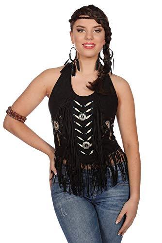 shoperama Fransen Top Rückenfrei Wildleder-Optik Indianerin Squaw Damen-Kostüm Wilder Westen Traumfänger Karneval Fasching, Farbe:Schwarz