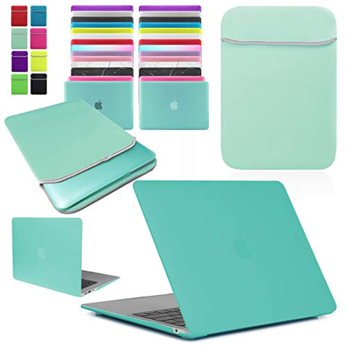 BUNDLE - Rubberized Hard Shell Case with Matching Neoprene Sleeve Cover for Apple MacBook Air 11 & 13-inch Models. MacBook 12-inch also Available (use drop down menu to select model and size)