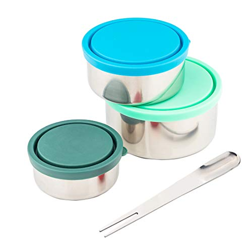 Timiuu Stainless Steel Lunch Box Food Storage Containers with Leak-proof Lids  Reusable Snack Food Nesting Containers for Kids or Adults  Set of 3 Eco-Friendly BPA Free  5oz 8oz 16oz