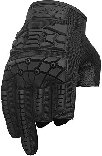 Seibertron T.T.F.I.G 2.0 Men's Tactical Military Gloves Flexible Rubber Knuckle Protective for Combat Hunting Hiking Airsoft Paintball Motorcycle Motorbike Riding Outdoor Gloves Black L