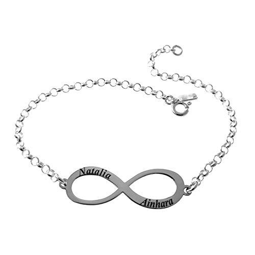Minoplata Pulsera infinito de Plata de ley 925 personalizada hasta con 4 con nombres. Ideal como regalo para amigas, enamorados. Preciosa para mujeres que adoran las joyas de moda
