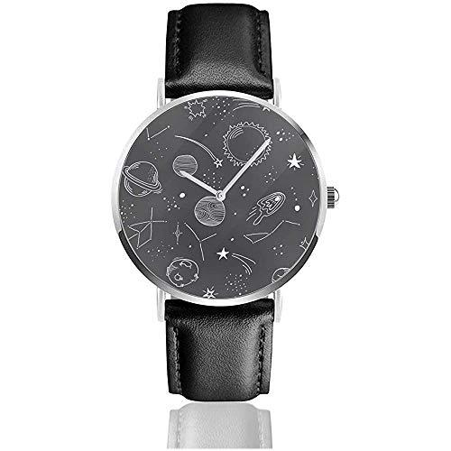 Met de hand getekend ruimtemotief. planeet, ster, zon, asteroide, komeet en maan. Roestvrijstalen leren band horloges polshorloges