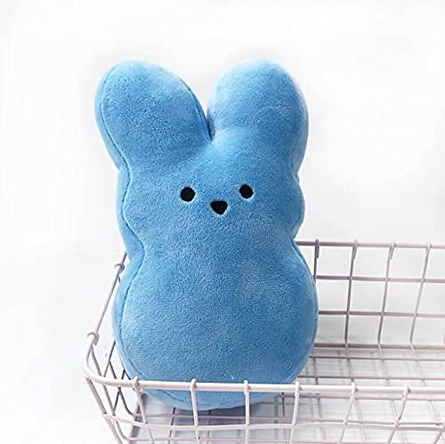 XINQ 15cm Osterfestival Bunny Plüsch Spielzeug Gefüllte Bunte Kaninchen Puppe Cartoon Abstraktes Bild Hase Cuddly Spielzeug für Baby Kinder ca.15cm Gelb (Color : Blue, Size : About15cm)