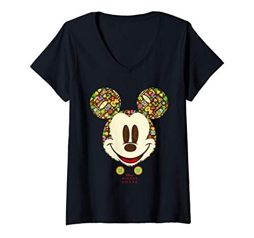 Mujer Disney Year of the Mouse Tiki Holiday Mickey July Camiseta Cuello V