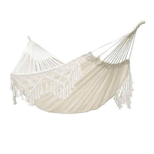 zyeziwhs Hamaca hecha a mano clásica doble portátil Hamacas columpio, lona blanca de algodón macramé con flecos para camping, playa, dormitorio, porche, exterior, interior, patio