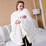 welltree Chunky Knit Blanket Merino Wool Hand Made Throw for Bedroom Sofa Decor White 100×200CM