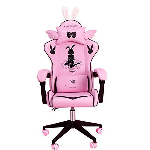 CNMJI Gaming Stühle Ergonomischer Computer Spielstuhl Höhenverstellbarer Chefsessel Schreibtischstuhl Mit Kopfstützen, Rosa Japanische Manga-Mädchenart Stil E-Sports Stuhl Mit Ausziehbarem Fußraste,A