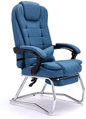 Cadeira Cadeira para computador em casa, Pausa para o almoço Cadeira reclinável de tecido para o almoço, cadeira reclinável de couro de vaca com arco Mahjong com quatro pernas (cor: linho de