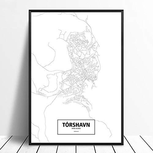 Serthny canvasdruk, motief: Torshavn Faroe IJslands, zwart, wit, personaliseerbaar 30×40cm (11.81×15.74inch)no frame