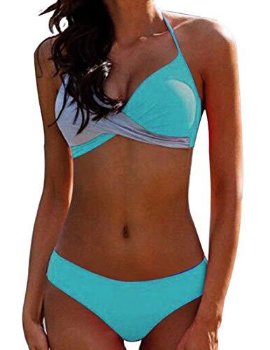 Bikini Elegante Traje de Baño Conjunto Bañador Halter Sexy Sólido para Mujer Ropa de Playa Traje de Baño Bikini Sets Talla Grande (Verde, XXL)