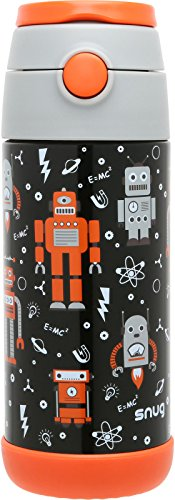 Snug Flask for Kids - Vacuum Insulated Water Bottle with Straw (Robots)