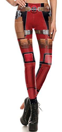Belsen Damen Deadpool Elastic Leggings Pants Bleistifthosen Weste T-shirt Set (L, Leggings)