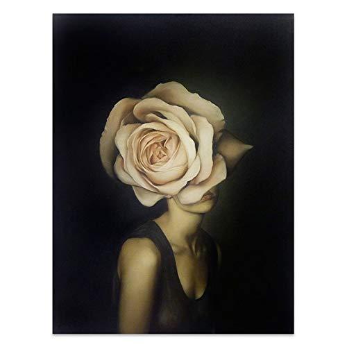 LiMengQi2 Moderni Poster e Stampe con Piume e Fiori per Donne, Dipinti ad Olio, Tela, Quadri artistici per Decorazioni per la casa in Soggiorno (Senza Cornice)