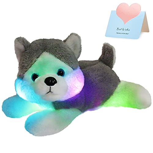 Houswbaby LED Plush Husky Glowing Stuffed Dog Soft Night Light Puppy Toy Hugging Pillow Companion Pet Holiday Birthday Gift for Kids Boys Girls Toddlers, Gray, 13''