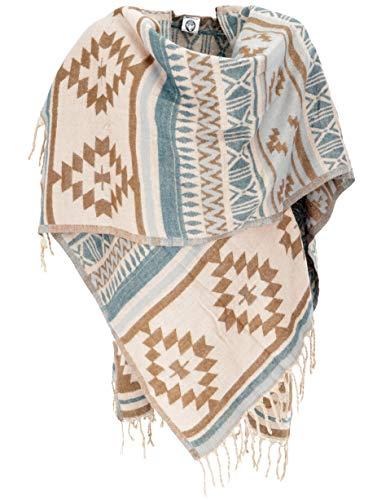 Guru-Shop, Inca Poncho Sjaal, Poncho, Cape Sjaal, Bruin, Synthetisch, Size:14, Vesten en Poncho`s