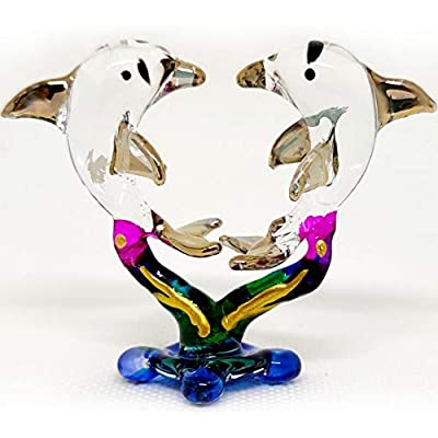 Sansukjai Heart Dolphins W/Seaweed Miniature Figurines Hand Painted Blown Glass Art W/ 22k Gold Trim Animals Collectible Gift Home Decor, Clear Gold