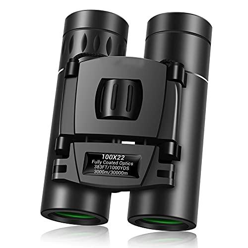 WSMKSZ Binoculares de Alta Potencia 100X22, BAK4, Ocular Grande, telescopio binoculares portátiles e Impermeables con Lentes con Revestimiento Multicapa para fútbol de observación de Aves Adultas
