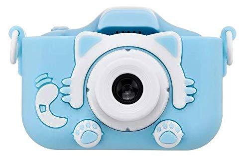 Goldenberg Kamera Kinder, Kinder Video Camera mit Farbdisplay, Fotokamera Camcorder 2 Zoll LCD Bildschirm, SD-Karte 32GB mit USB Kabel (Cute Kitty Blau)