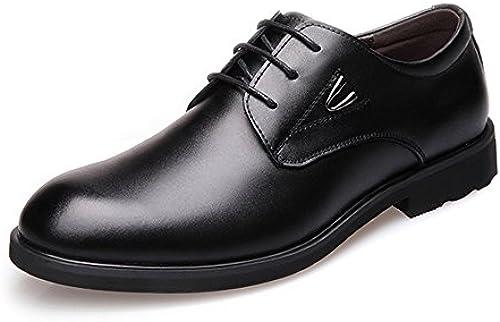 JIALUN-Schuhe Einfache Herren Formelle Business-Schuhe Klassische Matte PU Leder Upper Lace Up Atmungsaktiv gefütterte Halbschuhe (Farbe   Schwarz Größe   27.5CM)