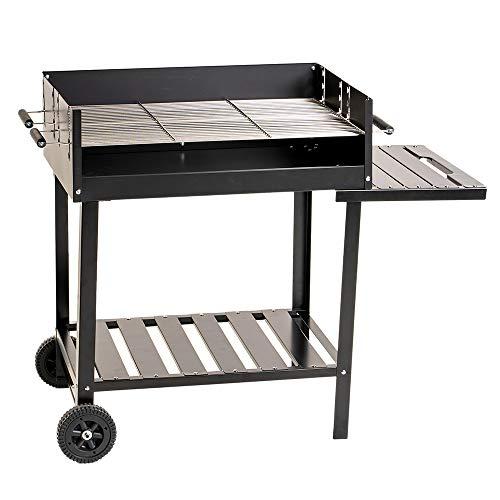 Enrico Coveri Barbecue a Carbone Rettangolare con 2 Piani Cottura e 2 Ripiani in Acciaio, Perfetto per Giardino, Terrazzo e Campeggio