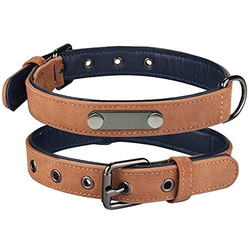 CNYG Collar de perro de cuero sintético acolchado suave para perros pequeños, medianos y grandes con hebilla ajustable y cómodo collar para mascotas marrón L