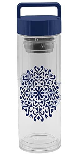 infinite by GEDA LABELS (INFKH) Botella de cristal unisex juvenil con colador de té, multicolor, 400 ml