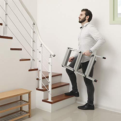 SONGMICS Escalera de Tijera, Escalera Plegable del Hogar, Escalera de Mano, 3 Niveles en Ambos Lados, Capacidad 150 Kg, Aluminio GLT23K