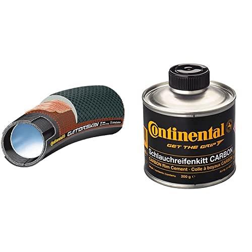 Continental Cont-7 Tubular De Carretera, Unisex Adulto, Negro, 700 X 25 + Schlauchreifenkitt Für Carbonfelgen, Dose À 200 G, Mit Pinsel Bote Pegamento, Unisex, Negro, Talla Única