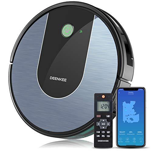 Deenkee Saugroboter mit Wischfunktion, WLAN Staubsauger Roboter Kompatibel mit App/Alexa, Selbstaufladung Roboterstaubsauger, Starke Saugleistung, Superschlank, für Tierhaare,Teppiche,Hartböden