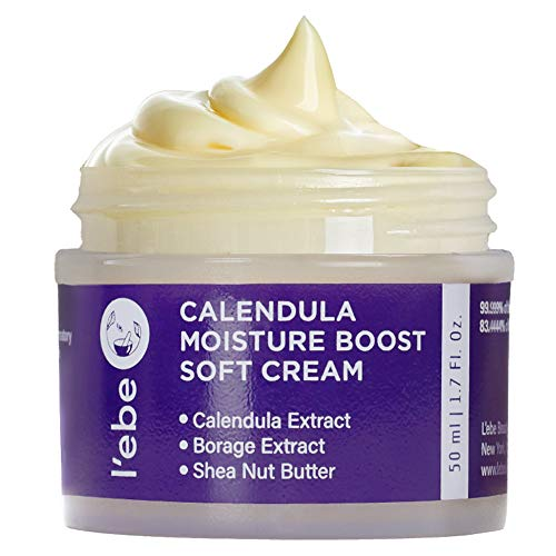 Deep Hydrating Face Moisturizer with Calendula & Borage - For Dry & Sensitive Skin   Anti-Aging Face Cream to Reduce Wrinkles & Soothe Redness   Vegan, Organic & Natural Ingredient   1.7oz By L'ebe