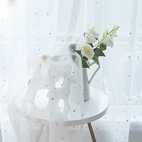 Cortinas Visillos para Ventana Cortina Transparente estrellas,Ventana Habitación infantil Cortinas de diseño Paneles de velo Tratamiento de cortinas,para sala de estar de dormitorio,1pcs-Blanco