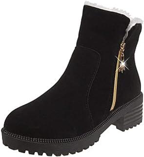 [QIFENGDIANZI] ムートンブーツ レディース スノーブーツ 冬用ブーツ 雪用ブーツ 北欧風 22.5cm~25cm 防寒 保暖 裏起毛 暖かい 美脚 もこもこ 滑り止め 女性用 大きいサイズ 秋冬用 通勤 通学用 プレゼント
