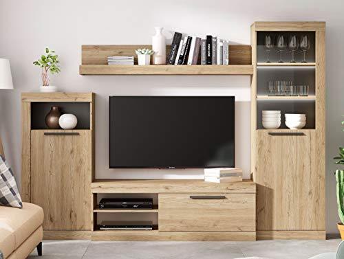 Fabrikit Mueble de TV Salon Comedor Rustik Modular Estilo Moderno Color Naturale y Pizarra 258X186X42 cm