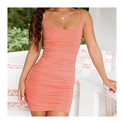 UUYUU Vestido Plisado sin Espalda Sexy for Mujer con Tirantes Finos y Cordones Mini Vestido de Fiesta for Club Nocturno Vestidos Ajustados for Mujer (Color : Pink, Size : Medium)