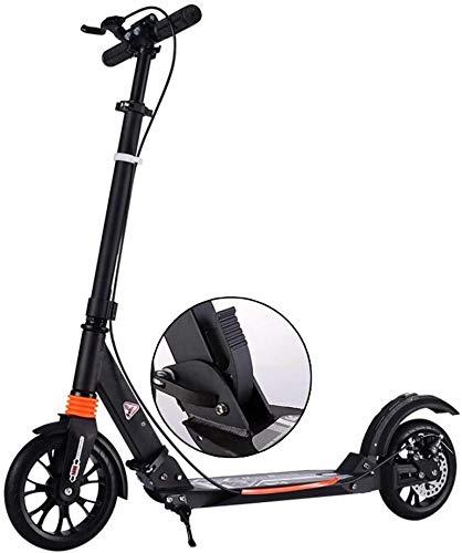 WJJ Patinetes para Niños Black Kick Scooters con Frenos De Disco para Unisex Adulto, Scooters De Cercanías Plegables con Ruedas Grandes, hasta 100 Kg, No Eléctrico