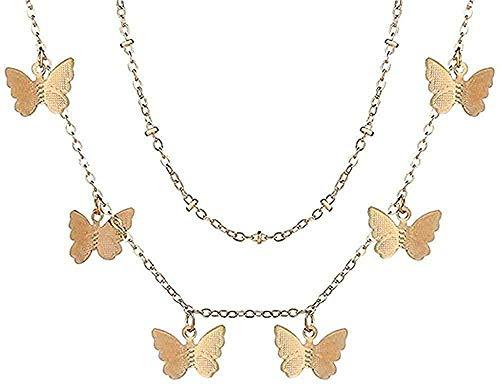 Collar Collares con colgante de retrato de cerradura de múltiples capas para mujer Collar de corazón con llave de metal Regalo