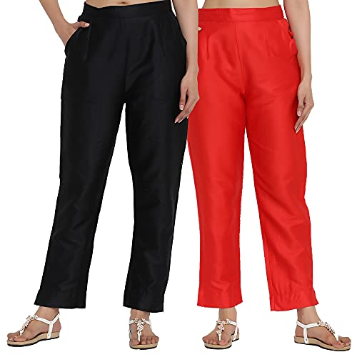 FERANOID Womens Silk Solid Straight Fit Trouser Pants (Pack of...