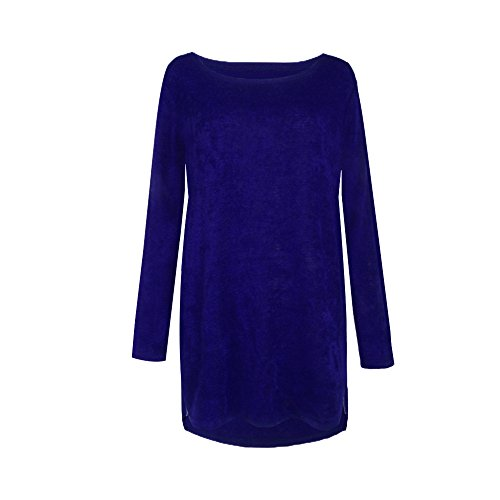 Kabxryaclo Pull à capuche en flanelle à manches longues pour femme - Bleu - 40