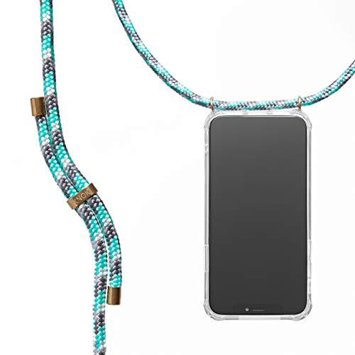 KNOK Handykette Kompatibel mitApple iPhone 5/5s/SE- Silikon Hülle mit Band - Handyhülle für Smartphone zum Umhängen - Transparent Hülle mit Schnur - Schutzhülle mit Kordel in Mint Camouflage