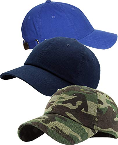 Zipper-G Caps Combo Pack of 3 Royal Blue Navy Blue Army Cotton Baseball Cap for Men Women Free Size with Adjustable Strap