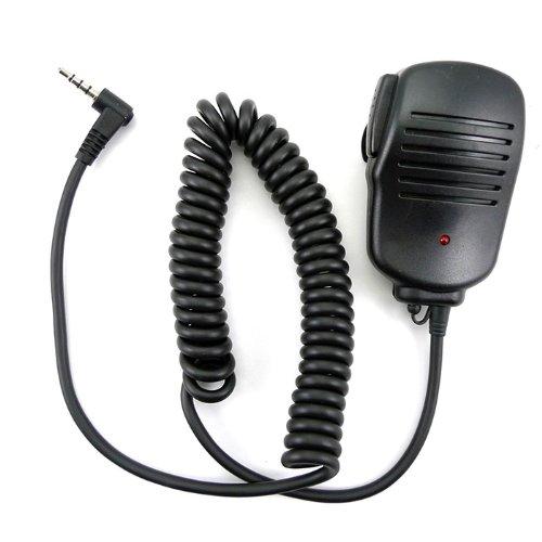 zeadio Micrófono de mano con mando a distancia de hombro para micrófono de 3,5 mm con luz roja para radio Yaesu Vertex Walkie Talkie de 1 pin