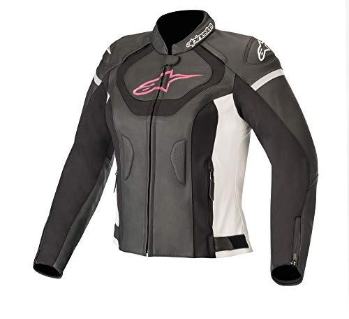 Alpinestars Stella Jaws V3 Damen Motorrad Lederjacke Schwarz/Weiß/Pink 40