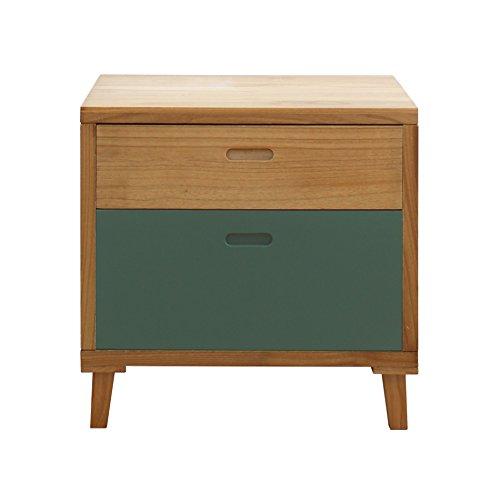 Rebecca Möbel dressoir nachtkastje 2 laden hout bruin groen slaapkamer woonkamer modern (art.nr. RE6048)